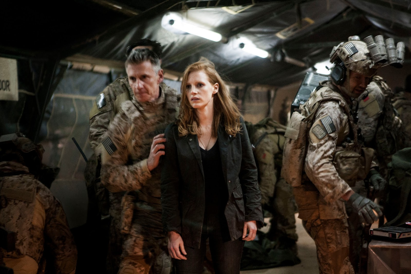Jessica Chastain as Maya and Christopher Stanley as Admiral Bill McCraven in 'Zero Dark Thirty'