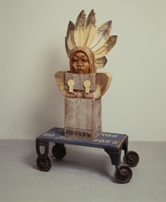 "Horace Poolaw, 1993 Wood and Mixed Media 76"" × 40.50 × 32"
