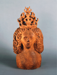 "Queen, 1957 Wood and Terracotta 28.75"" x 13.50"" x 9"""